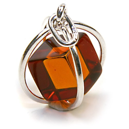Certified Genuine Amber Cube Sterling Silver Millennium Collection Contemporary Spherical Pendant