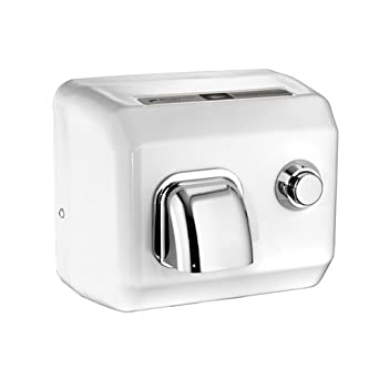 American Dryer DR10N Steel Cover Push Button Hand Dryer, 110-120V, 1,725W Power, 60Hz, White Enamel Finish