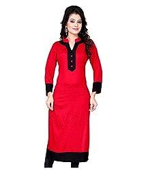 Shubh Women's Cotton Kurti (Shubh_180_Red_Free Size)