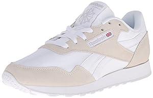 Reebok Women's Royal Nylon Classic Shoe, White/Steel, 8.5 M US