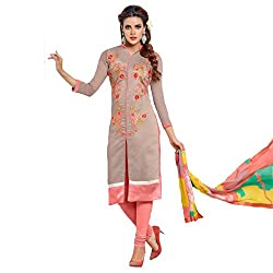 Udantya Women's Chanderi Embroidered Salwar Suit Unstitched Dress Materials (Light Brown)
