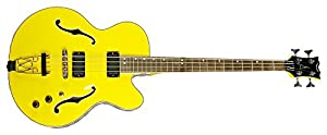 Dean Guitars STYB CABBIE 4-String Acoustic Electric Bass Guitar, Yellow/Black-and-White