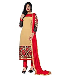 Lookslady Embroidered Beige & Red Georgette Salwar Suit