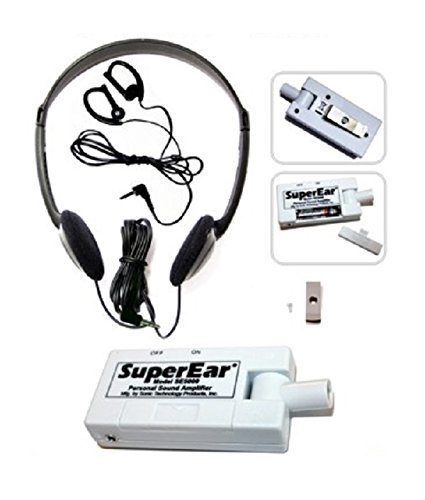 SuperEar Sonic Ear Personal Sound Amplifier Model SE5000 (Upgrade of Model SE4000) Increases Ambient Sound Gain 50dB, CMS/ADA Compliant Assistive Listening Device Complete System (Ada Clear Super compare prices)