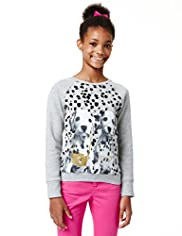 Limited Cotton Rich Dalmatian Dog Print Sweat Top