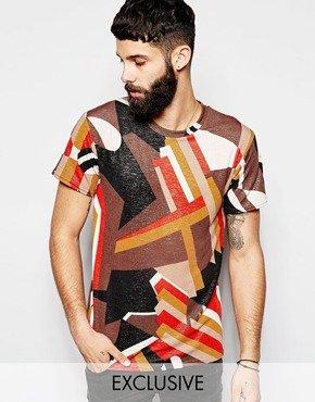 Reclaimed Vintage T-Shirt In Geometric Print 並行輸入品