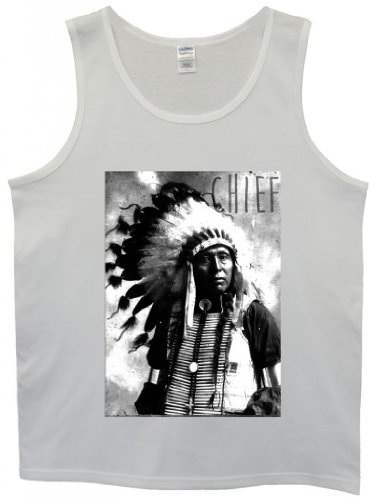 Indians Chief Native Americans Cool Funny Hipster Swag White Men Tank Top Vest-X-Large
