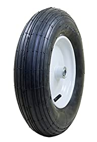 "Marathon Industries 20063 4.80/4.00-8"" Pneumatic (Air-Filled) Tire with Ribbed Tread, 3"" Centered Hub, 3/4"" Ball Bearings"