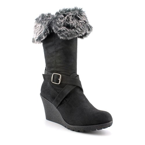 Xoxo Women'S Olivia Faux Fur Wedge Boots In Black Size 6.5