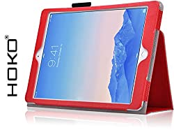 iPad Air 2 Case, HOKO Red Leather Flip Cover Book Case with magnetic closure for Apple iPad Air 2 (Auto wake and sleep)