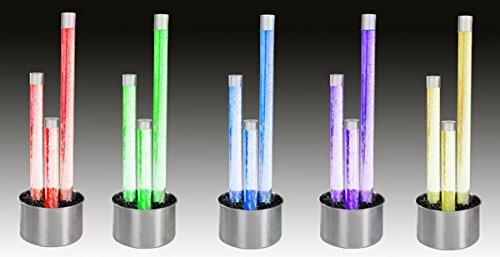 Trio de Tubes à Bulles avec Socle en Acier Inoxydable, à LED et Commande à Distance (1.36m)