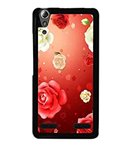 Fuson Premium 2D Back Case Cover Red Roses With black Background Degined For Lenovo A6000