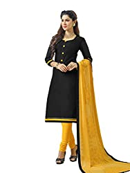 Vastrangam Simple Black & Yellow Unstitched Banarasi Chanderi Dress Material With Embroidered Dupatta