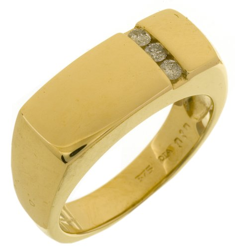 Men's Diamond Trilogy Ring, 9 Carat Yellow Gold set with Three Stones