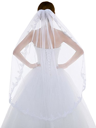 Edith qi Women's 1T 1 Tier Tulle Bridal Wedding Veil with Embroidered Hem