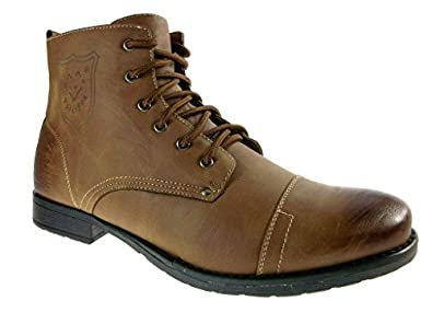 Polar Fox Men's 537-Brown Ankle High Military Combat Boots, Brown, 6.5