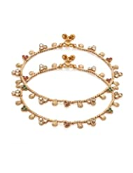 Gold Plated Anklet Pair With Kundans In Pretty Design