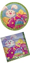 Easter Bunny Paper Plates and Napkins Set Service for 20