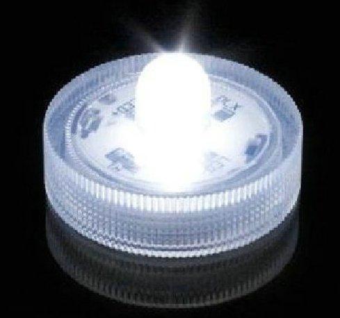 Submersible Led Lights, White. Battery Operated Led Lights. Set Of 10 Wedding Tea Lights