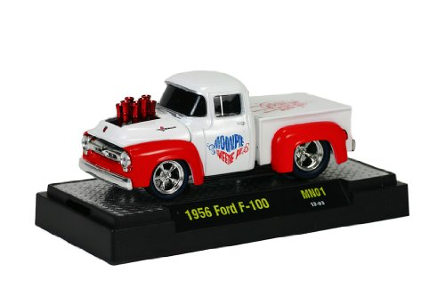 M2 Machines Moon Pie 1956 Ford F-100 Diecast Vehicle, White, 1:64 Scale