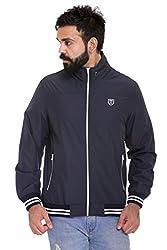 Trufit Full Sleeves Solid Men's Navy Hidden Hood High Neck Lightweight Sports Polyester Blend Jacket without Filler