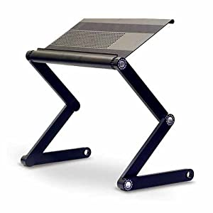 - Adjustable Vented Laptop Table Laptop Computer Desk Portable Bed Tray Book Stand Multifuctional & Ergonomics Design Dual Layer Tabletop up to 17