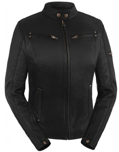True Element Womens Sleek Vented Scooter Collar Leather Motorcycle Jacket (Black, Large)