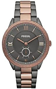 Unisex Watch Fossil ES3068 Two Tone Stainless Steel Case and Bracelet Gray Dial