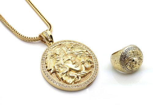 Chris Brown'S Hip-Hop Bling Cz Medusa Head Gold Tone 2 Chainz Pendant With Ring Set Size 8