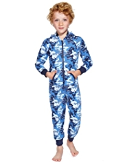 Cotton Rich Camouflage Animal Print Onesie