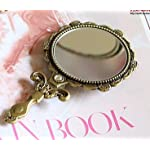 Vintage Mirror Cosmetic Makeup Antique Retro Vanity Decorative Glass Art Design Ornaments - Handheld Hand Mini Small Gold Beveled