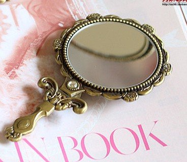 Vintage Mirror Cosmetic Makeup Antique Retro Vanity Decorative Glass Art Design Ornaments - Handheld Hand Mini Small Gold Beveled 0