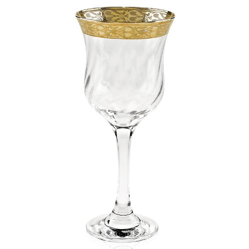 Lorenzo gold border stemmed wine glass set of 6 - Thick stemmed wine glasses ...