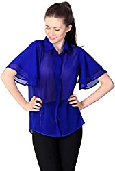 Unimod Women's Viscose Regular Fit Top (U058_Blue_L, Blue, L)
