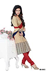 DARPAN TEXTILES Ethnicwear Women's Dress Material Beige_Free Size