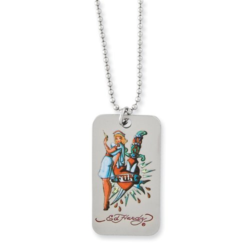 Nurse & Knife Dog Tag Necklace By Ed Hardy Jewelry, Best Quality Free Gift Box Satisfaction Guaranteed