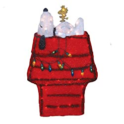 "26"" Pre-Lit Peanuts Snoopy on Doghouse 3-Dimensional Christmas Yard Art"