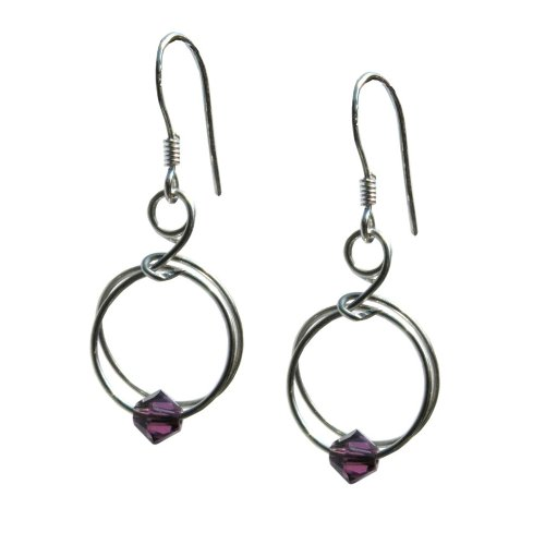 Handmade 925 Sterling Silver & Amethyst Swarovski Crystal Earrings FREE Delivery in UK-Gift Wrapped