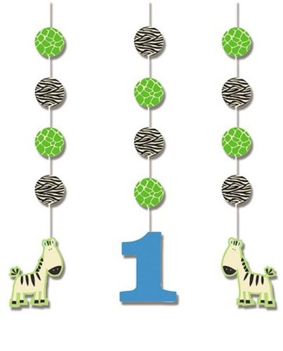 Creative Converting Wild at One Zebra Hanging Cutout Party Decorations, 3-Count - 1