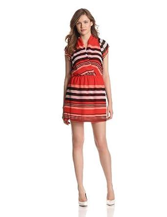 (史低)BCBGeneration 橘红条纹连衣裙S Women's Shirred Neck Dress尺码全$41.99