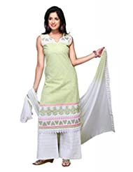 Olive Green Cotton Straight Salwar Kameez For Ladies - B00TJVJ9NA