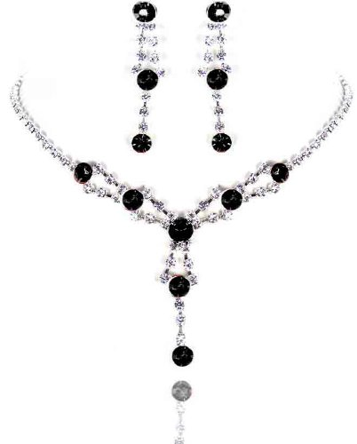 Bridal Black & Clear crystals drop necklace earrings set.Silver Finish White box