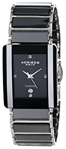 Akribos XXIV Men's AK521BK Ceramic Rectangular Quartz Bracelet Watch