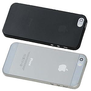 2 x Ultra dünne Schutzhülle iPhone 5s / 5 Hülle sehr dünn in schwarz und weiß transparent