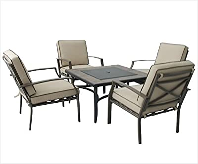 Patio Set Arni Fire Pit 4 Seater Aluminium Brownecru from dffu
