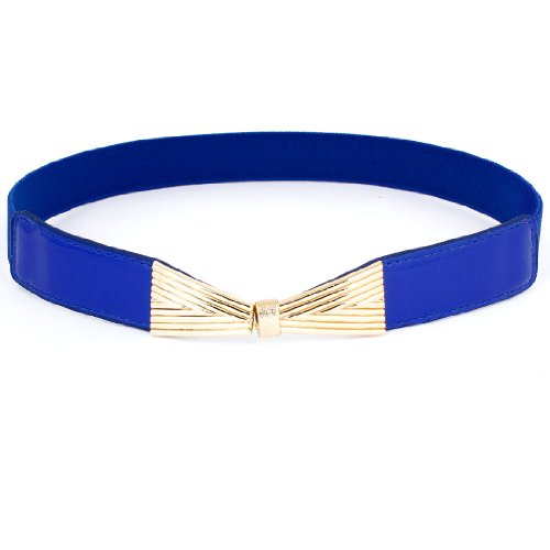 Metal Bowknot Style Intelock Buckle Stretchy Thin Cinch Belt Waist Band for Lady