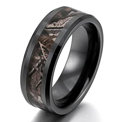 Men's 8mm Ceramic Ring Black Brown Hunting Camo Camouflage Comfort Fit Band Wedding Polished Unique