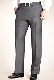 Pure Wool Flat Front Puppytooth Straight Leg Trousers [T18-2418-S]