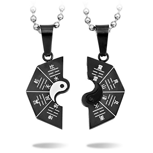 MeMeDIY 2 PCS Black White Stainless Steel Pendant Necklace Yin Yang Tai Chi Couple ,come with 2 Chains - Customized Engraving