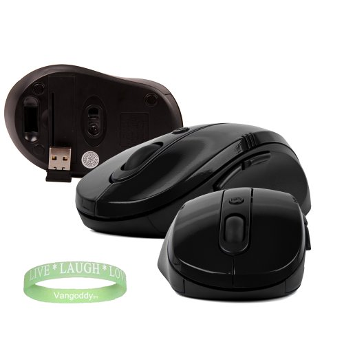 Usb Black Gloss Wireless Mouse Compatible To The Sony Vaio E Series + Live * Laugh * Love Wrist Band